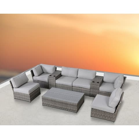 LSI 9 Piece Rattan Sectional Seating Group with Cushions