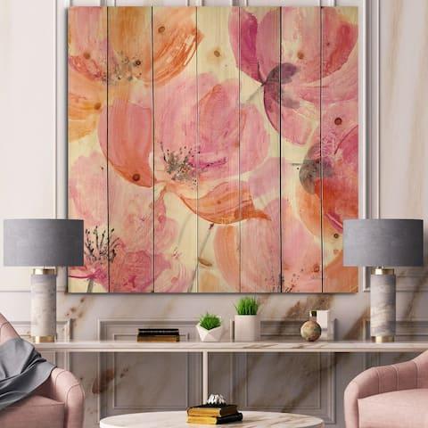 Designart 'Shabby Flower III' Shabby Chic Print on Natural Pine Wood - Orange