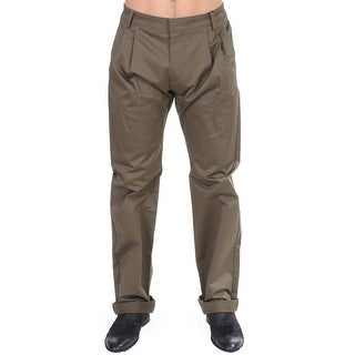 GF Ferre Green Cotton Stretch Comfort Fit Pants - it48-m