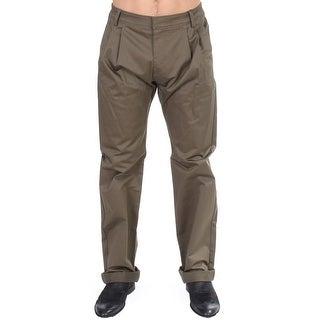 GF Ferre GF Ferre Green Cotton Stretch Comfort Fit Pants - it48-m