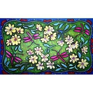 Custom Printed Rugs CPR019 Flowers & Dragonflies Doormat Rug - 18 x 30 in.