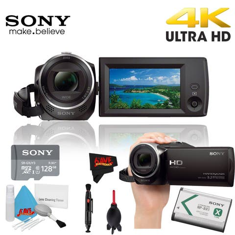 Sony HDR-CX405 Hd Camcorder Black + Sony 128Gb Uhs-I Microsdxc Memory Card Class 10 + Deluxe Cleaning Kit Bundle 3 Year Warranty