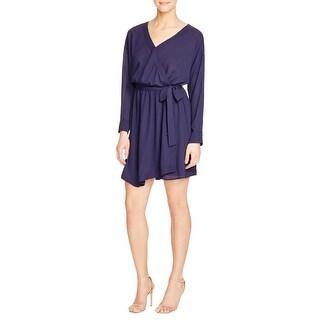 Aqua Womens Casual Dress Faux Wrap Sheer