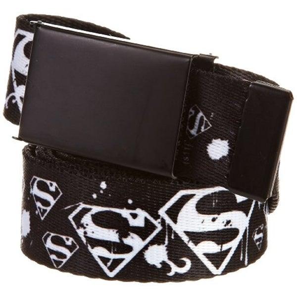 Buckle-Down Web Belt - Superman Shield Splatter Black White
