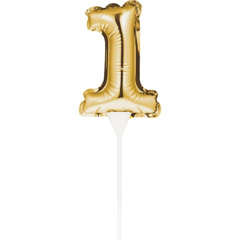 """Club Pack of 12 Gold Numerical Shape """"1"""" Silver Balloon Cake Topper 9"""""""