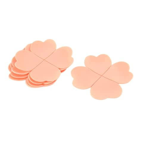 Family Desk Table Silicone Four Leaf Clover Shape Coaster Cup Mats Pink 5 PCS