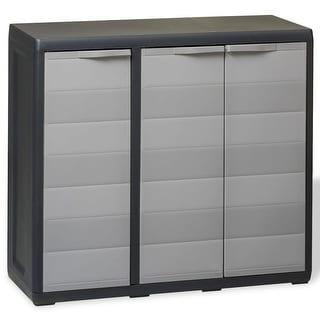 vidaXL Garden Storage Cabinet with 2 Shelves Black and Gray