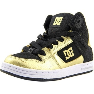 DC Shoes Rebound High Youth Round Toe Leather Black Skate Shoe (Option: Sneakers)