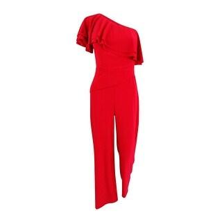 Lauren by Ralph Lauren Women's Wide-Leg One-Shoulder Ruffled Jumpsuit - Red