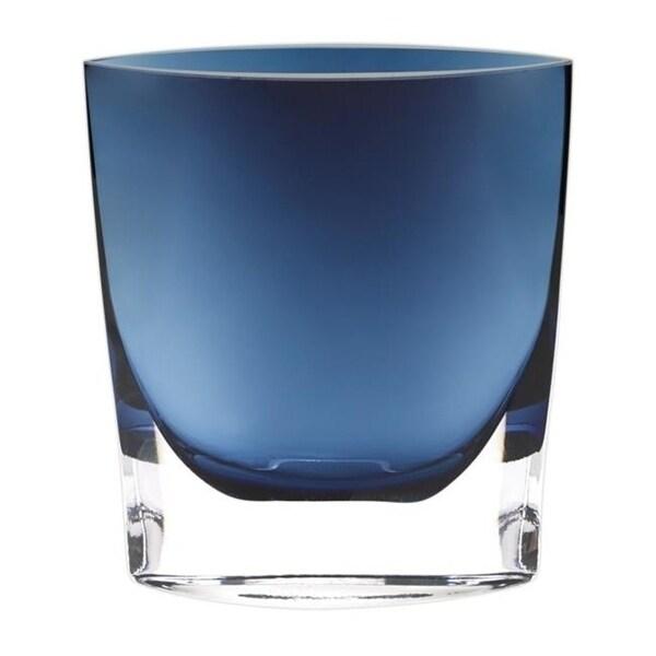 Badash K2038 8 in. Samantha Midnight European Mouth Blown Glass Vase Blue