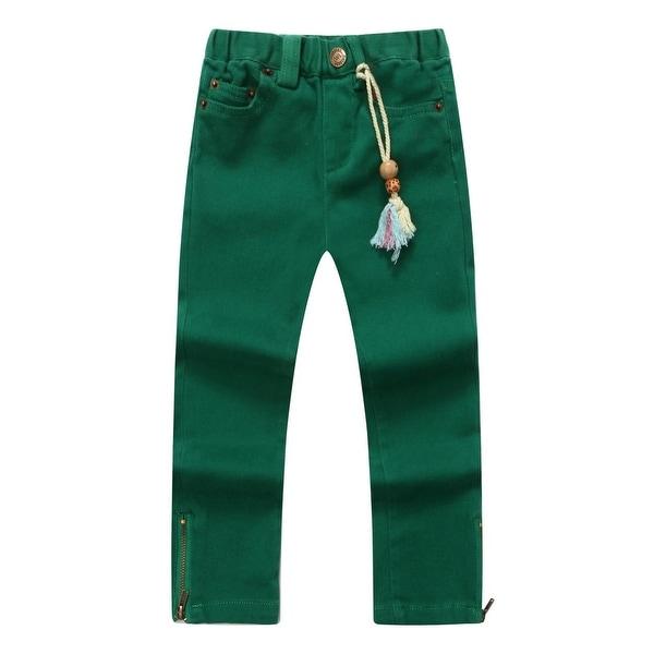 Richie House Baby Girls Green Forest Denim Pants 24M