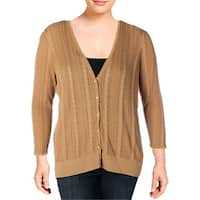 Lauren Ralph Lauren Womens Plus Cardigan Sweater Button Down Textured