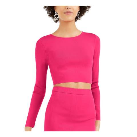 BAR III Womens Pink Long Sleeve Crew Neck Crop Top Sweater Size XL