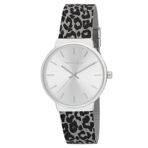 Vernier Womens Animal Print Mesh Strap Watch