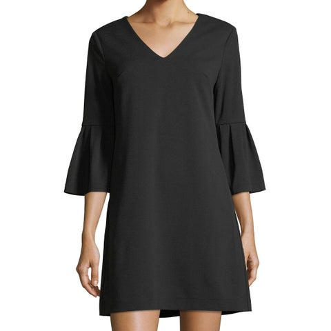 Donna Morgan Black Womens Size 6 Bell-Sleeve V-Neck Shift Dress