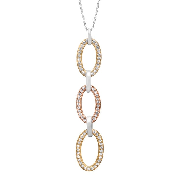 Triple Oval Pendant with Cubic Zirconia in 18K Two-Tone Gold-Plated Sterling Silver