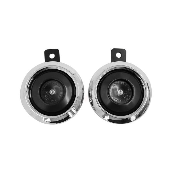 Unique Bargains2Pcs 1.5A 105dB Silver Tone Two Sound Warning Trumpet Loudspeaker for Motorcycle