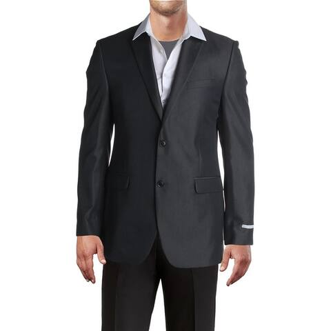 Perry Ellis Portfolio Mens Two-Button Suit Jacket Twill Slim Fit - Charcoal
