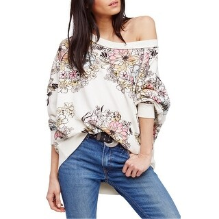 Free People Womens Medium Floral Pullover Sweater