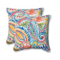 Set of 2 Paisley Burst Square Outdoor Throw Pillows 18.5""