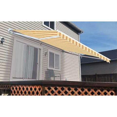 ALEKO Outdoor 13 x 10 ft Retractable Home Patio Canopy Awning Multi Yellow