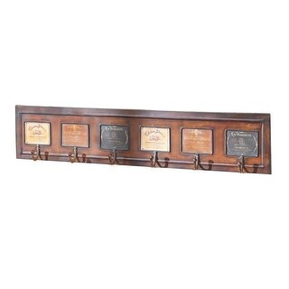 Set of 2 Brown and Black Wine Label Rectangular Multi-Wall hook 33""