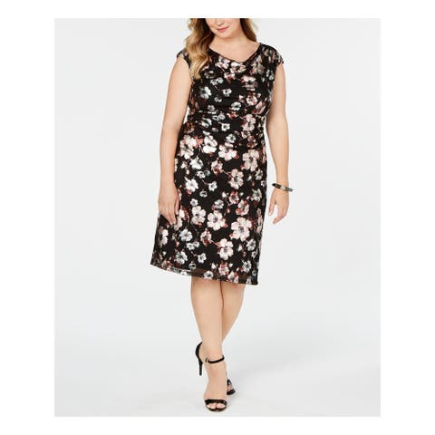 CONNECTED APPAREL Black Short Sleeve Below The Knee Dress 16W