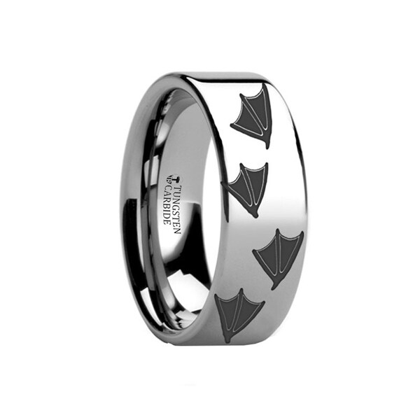THORSTEN - Animal Track Duck Print Ring Engraved Flat Tungsten Ring - 10mm