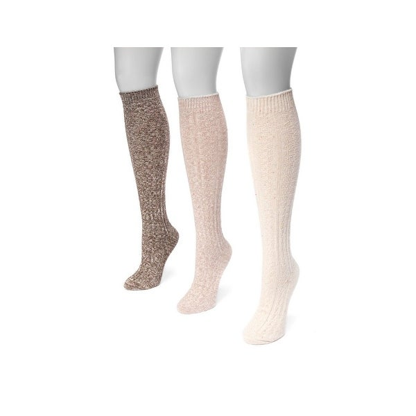 Muk Luks Socks Womens Cable Knit Knee High 3 pack One Size - One size