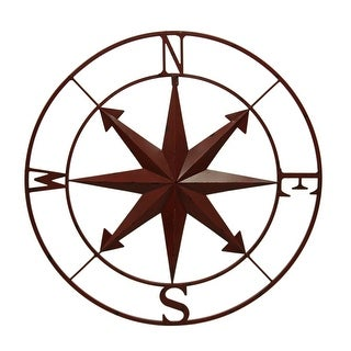 Distressed Metal Indoor/Outdoor Compass Rose Wall Hanging 28 Inch