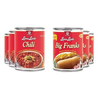 6 pack Loma Linda - Vegan - 3 Big Franks & 3 Chili  Kosher Lot