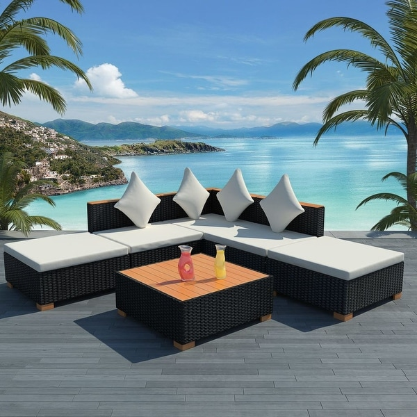 Shop Vidaxl Garden Lounge Set 15 Pieces Poly Rattan Wpc Top Black