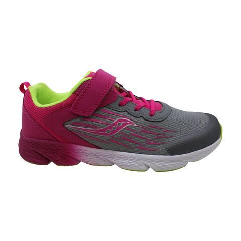 Saucony Unisex-Kid's Wind A/C Sneaker, Grey/Pink, 5.5 W US