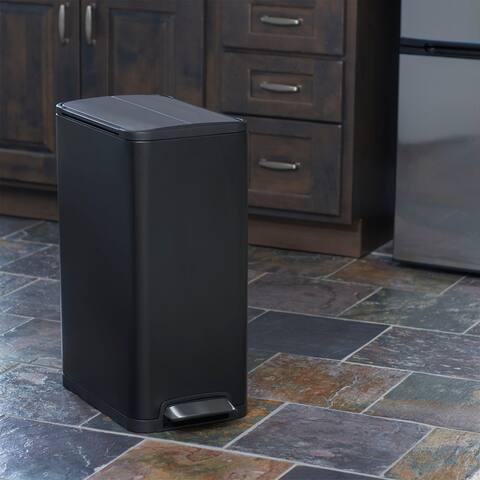 Household Essentials 30L Yueya Step Trash Can Bin, Matt Black