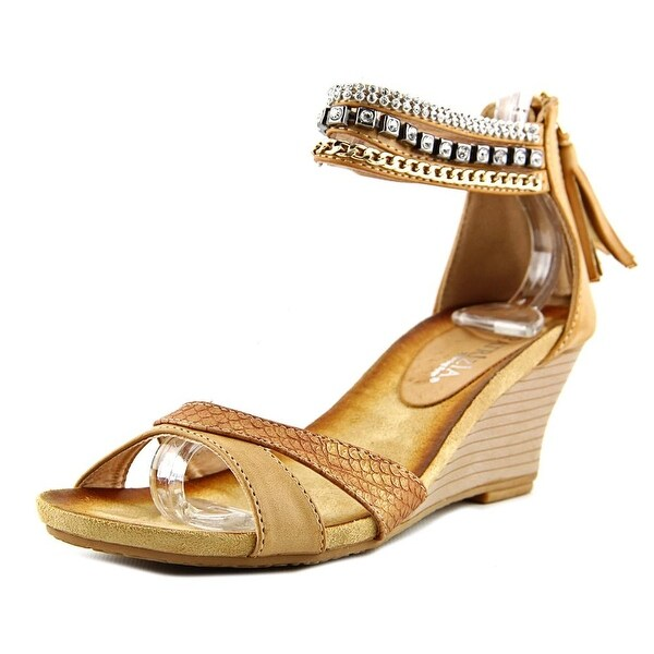 Patrizia By Spring Step Rho Women Open Toe Synthetic Tan Wedge Sandal