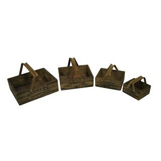 Set of 4 Vintage Look Nesting Herb Growing Basket Boxes
