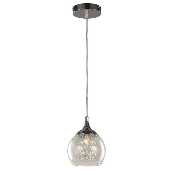 Trans Globe Lighting MDN-1217 Glass and Crystal 1 Light Mini Pendant - Polished chrome