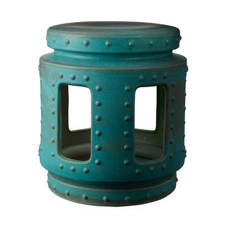 """Dimond Home 857043 Copper Patina 18""""H X 16""""W Throne Stool - turquoise"""
