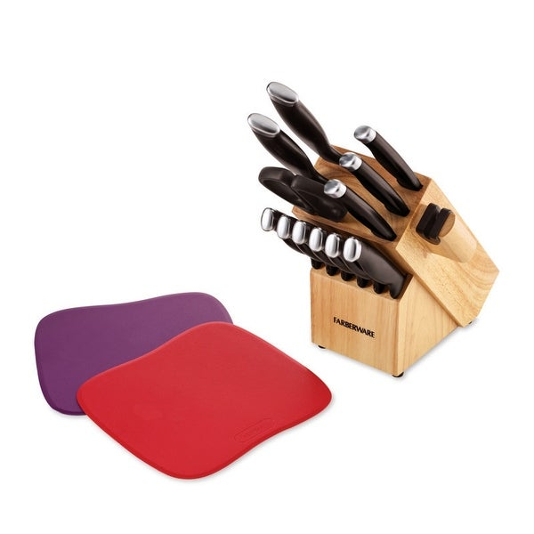 Farberware 15 Piece Delrin Cutlery Set with Built-in Edgekeeper Knife Sharpener. Opens flyout.