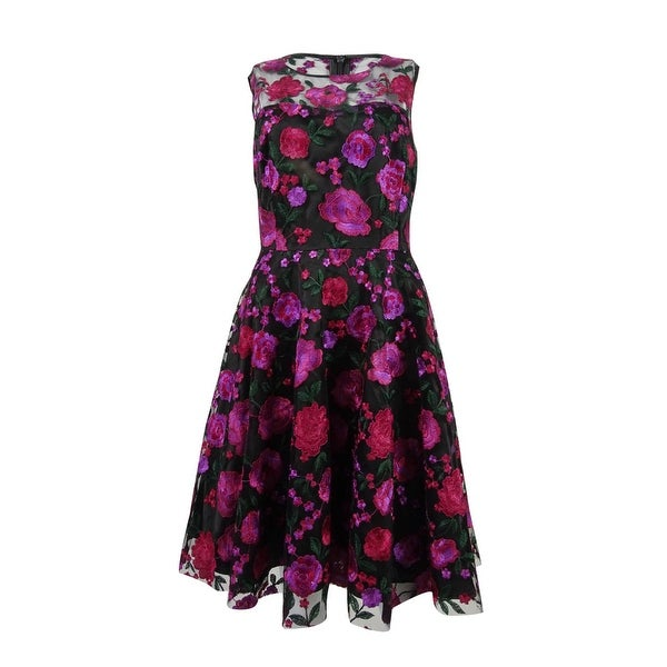 07e51ff58cff Shop Tahari ASL Women's Floral-Embroidered Fit & Flare Dress (8,  Black/Magenta/Green) - black/magenta/green - 8 - Free Shipping Today -  Overstock - 23103275