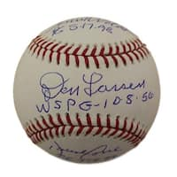 New York Yankees Autographed Perfect Game OML Baseball Larsen Wells Cone JSA
