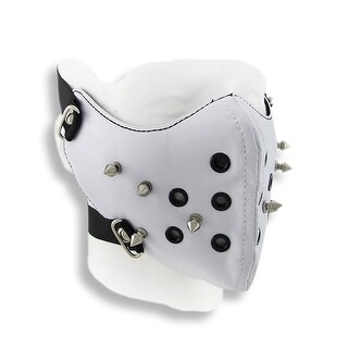 White Vinyl Spiked Half Face Mask Facemask
