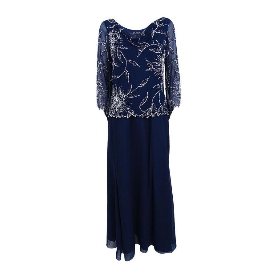 J Kara Womens Embellished A-Line Gown - Navy