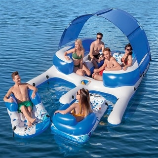 Link to Inflatable 8-Person Floating Island with UV Sun Shade and Connecting Lounge Rafts - 11 ft. 1 in. x 9 ft. 4 in. Similar Items in Swimming Pool Store