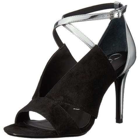 Calvin Klein Womens Nevah Leather Open Toe Ankle Strap Classic Pumps