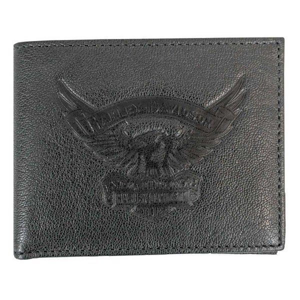 "Harley-Davidson Men's Eagle Emboss Billfold w/ Removable ID Wallet EE9041L-BLK - 4.25"" x 3.5"""