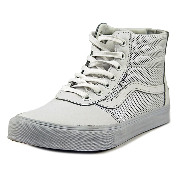 1950a45cb4 Shop Vans Milton Hi Zip Women Round Toe Leather White Sneakers ...