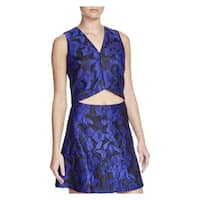 Lucy Paris Womens Crop Top V Neck Brocade