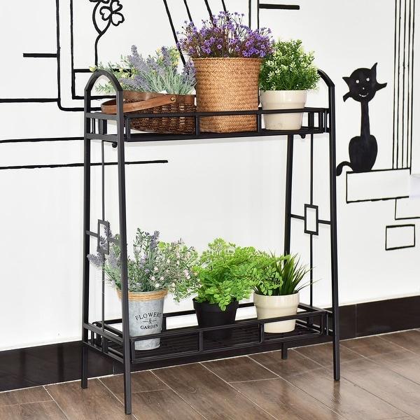Costway Heavy Duty 2 Tier Metal Flower Pot Rack Plant Display Stand Shelf Holder Decor