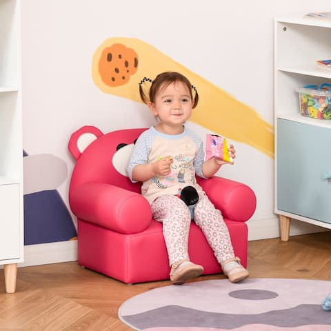 Qaba Kids Sofa with Bear Design and Ergonomic Backrest, Adds Dreamlike Atmosphere to any Daycare, Preschool, Kids Room, Rose Red